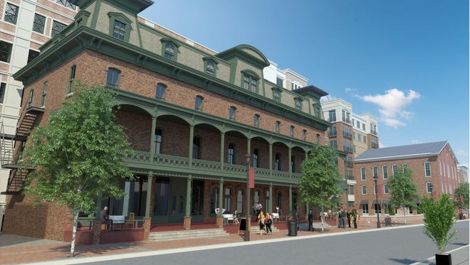 The redevelopment plan for the Union Hotel retains the facade of the 19th-century building.