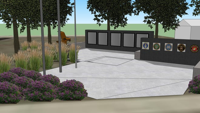 An artist's rendering of the new veterans memorial in North English. Fundraising is now underway for the $175,000 memorial, which will honor all veterans of the English Valleys area.