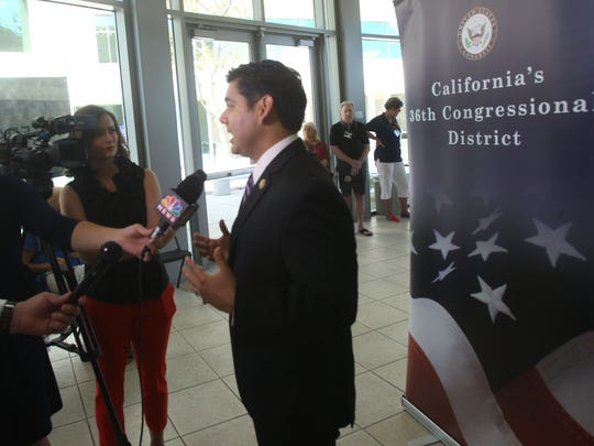 Congressman Raul Ruiz speaks to the media regarding the event at Veterans University in which workshops covered a myriad of topics including: mental health, transportation services, general healthcare benefits, disability benefits, and employment resources for veterans. The speakers will included representatives from Veteran Service Organizations, the Department of Veterans Affairs, and the Department of Labor.