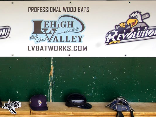 Lehigh Valley Bat Works hopes advertising inside the dugouts at Sovereign Bank Stadium will help the company break into the independent minor leagues market. (Photo by Chris A. Courogen)