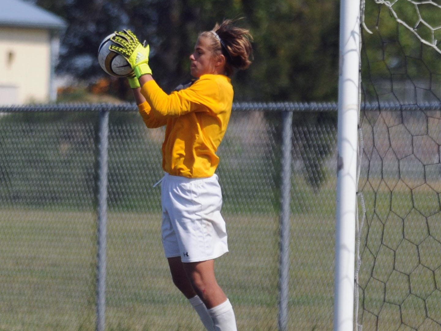 The Stephen Decatur goalkeeper comes up with a save against Indian River during the Cape Henlopen play day on Aug. 26.