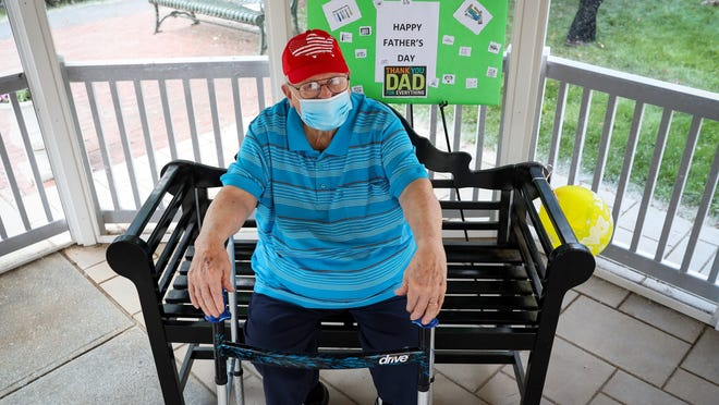 Holy Trinity Nursing and Rehabilitation Center resident Raymond Fluet on Father's Day.