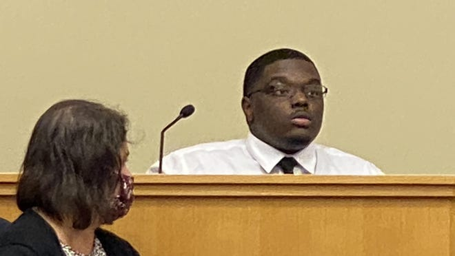 Raheem D.King, 24, of Rockford testifies Wednesday in his trial at the Winnebago County Criminal Justice Center. King is charged with fatally shooting three men aboard a rented party bus in April 2018.