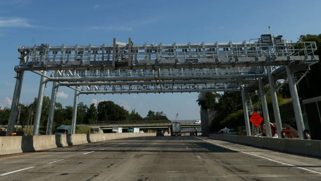The new all-electronic toll gantry on the New York State Thruway southbound in South Nyack in July 2015, before cameras were installed on it. The system went into effect April 24, 2016.