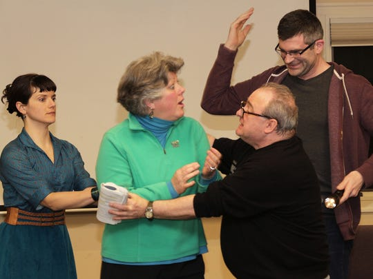 """Carly Bennett of Burlington; Kim Rockwood of South Burlington; Adam Cunningham of Colchester; and Robert McCarthy of Essex Junction perform in """"Black Comedy"""" starting Friday in Shelburne."""
