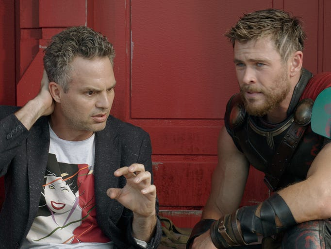 Thor (Chris Hemsworth, right) tries to keep Bruce Banner