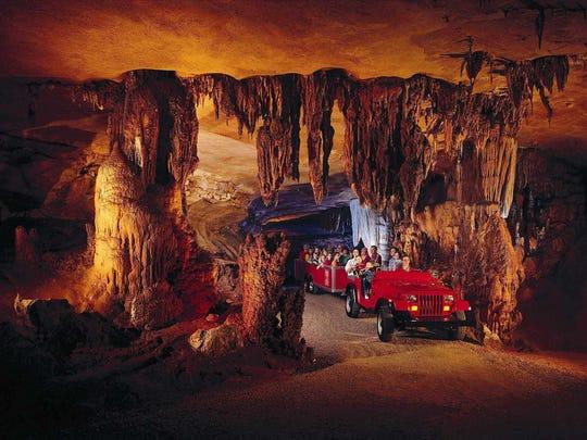Jeep tram touring cave at Fantastic Caverns