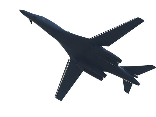 The B-1 Bomber made a pass Monday morning over the