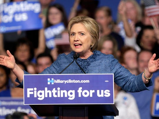 Democratic presidential candidate Hillary Clinton speaks during a primary night campaign rally, Tuesday, March 15, 2016, in West Palm Beach, Fla. (AP Photo/Lynne Sladky)