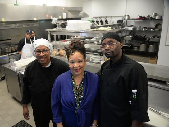 Carolyn Cannon with chef Devoria Simmons (left) and