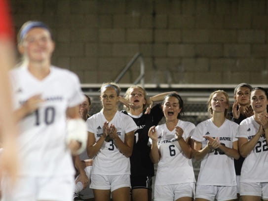 Notre Dame players celebrate Maddie Wilhoite, 10, being