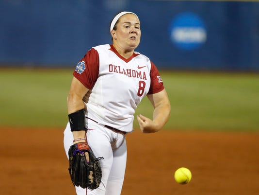 Oklahoma's Paige Parker pitches during a Women's College World Series softball game against Baylor in Oklahoma City, Thursday, June 1, 2017. (Bryan Terry/The Oklahoman via AP)