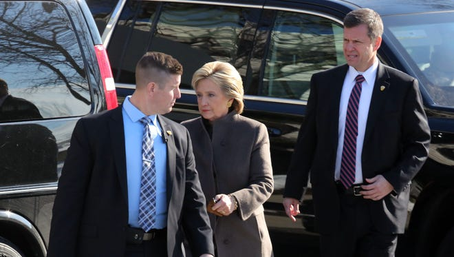 Hillary Clinton leaves 1133 Westchester Ave. in White Plains after a fundraising breakfast, Jan. 28, 2016.