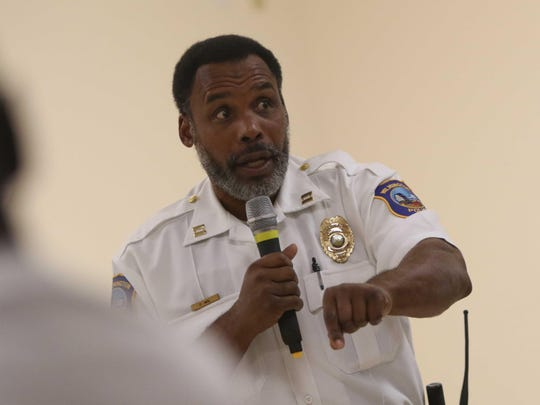 Wilmington Police Capt.  Fahim Akim speaks with members of the public about what an officer sees during an arrest at a meeting on citizen's rights while interacting with police at Cornerstone Fellowship Baptist Church Thursday.
