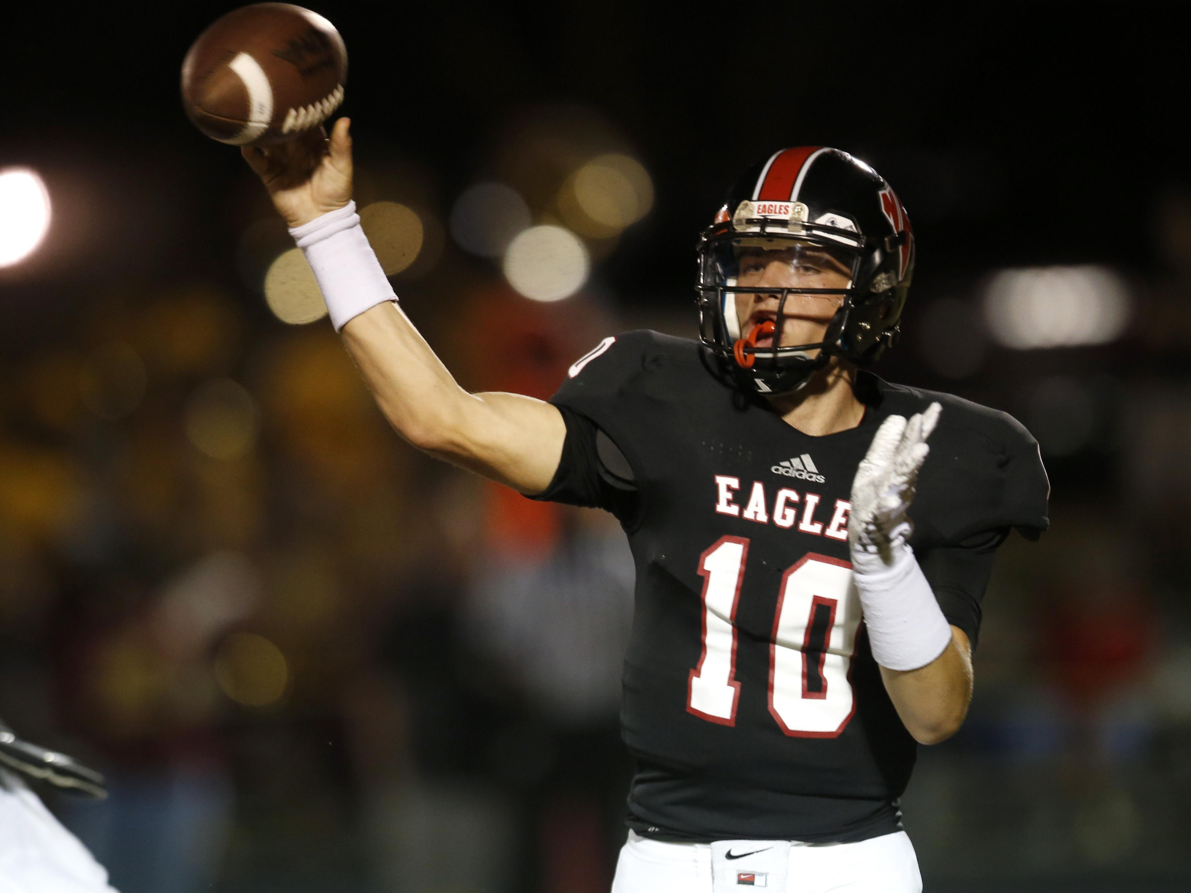 NFC quarterback Avery Thomas threw 3 touchdowns passes against FAMU DRS on Thursday night and the Eagles won 49-8 to clinch a District 2-2A title.