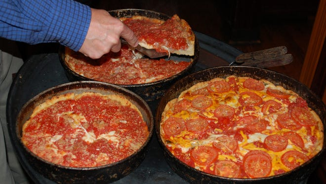 Pizzas at Lou Malnati's in Chicago.