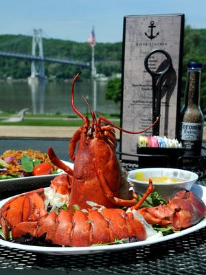 A steamed lobster with assorted vegetables is on the menu at the River Station Restaurant in Poughkeepsie, where dining on the outside terrace provides a view of Waryas Park, the Hudson River and the Mid-Hudson Bridge.