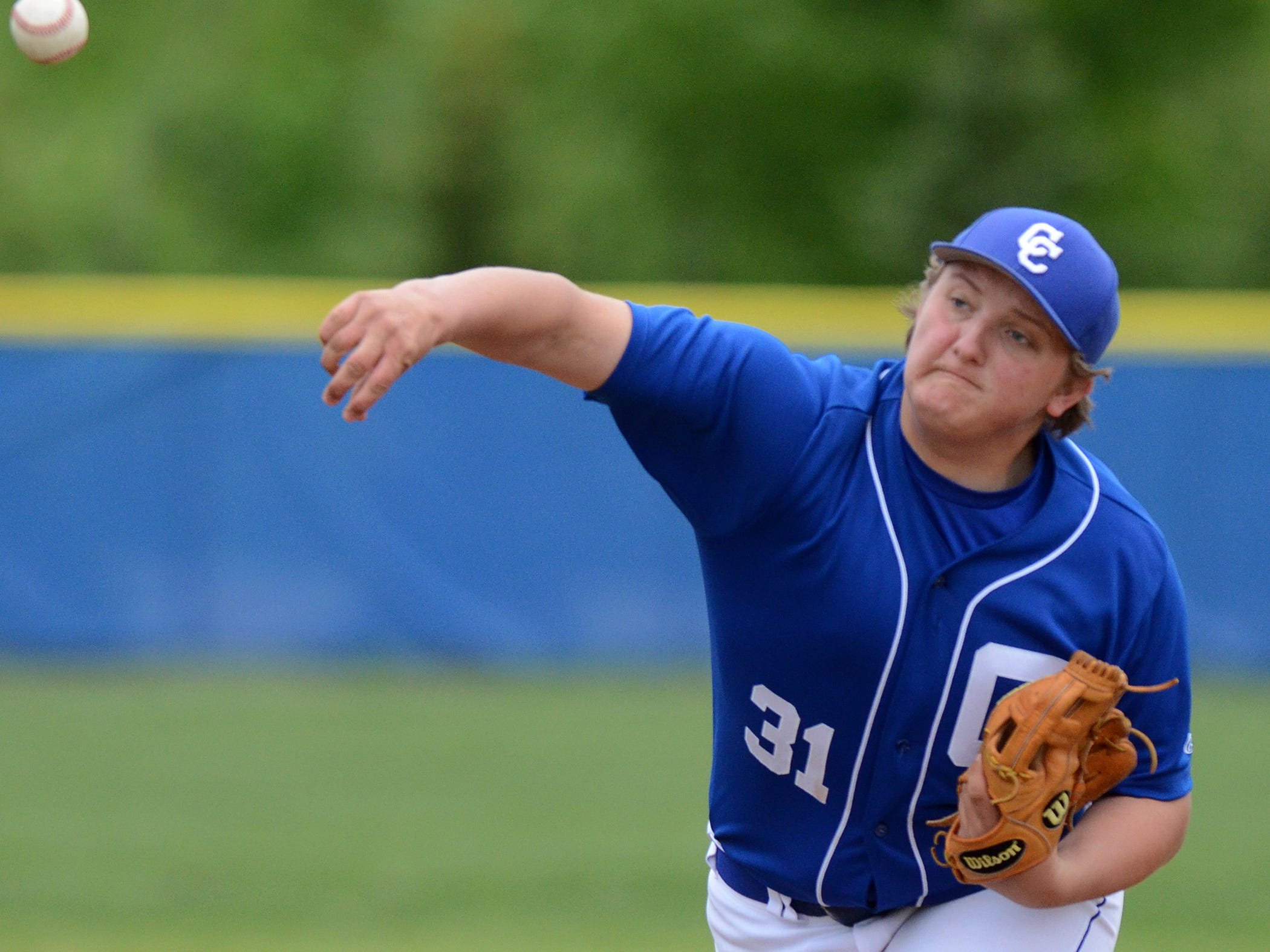 Catholic Central's Sam Hollenbeck earned the victory in Game One allowing just one run in 6.1 innings in a 3-1 win over South Lyon.