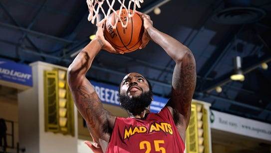 Rakeem Christmas eyes a dunk for the Mad Ants. Christmas
