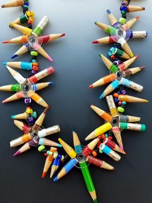 Scraps of pencils recycled into jewelry will be on display.