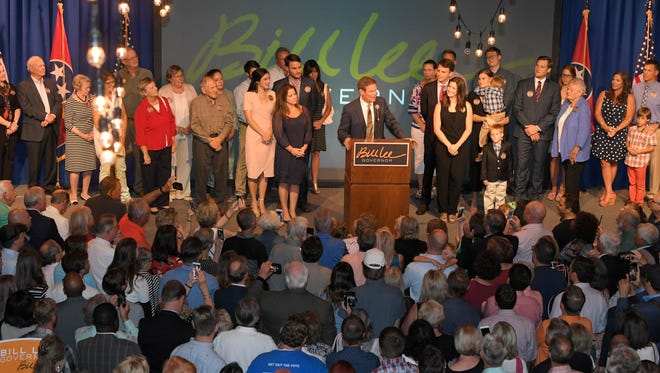 Republican gubernatorial candidate Bill Lee speaks to supporters at his watch party at the Factory at Franklin on Aug. 2, 2018.