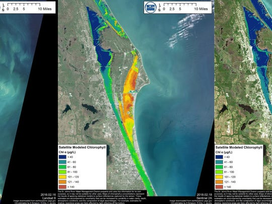 """It appears as if there has been a decrease in algae levels. The district produced a satellite image dated March 9 displaying a """"cooling off"""" of the recently hot spots indicated in imagery from Feb. 18."""