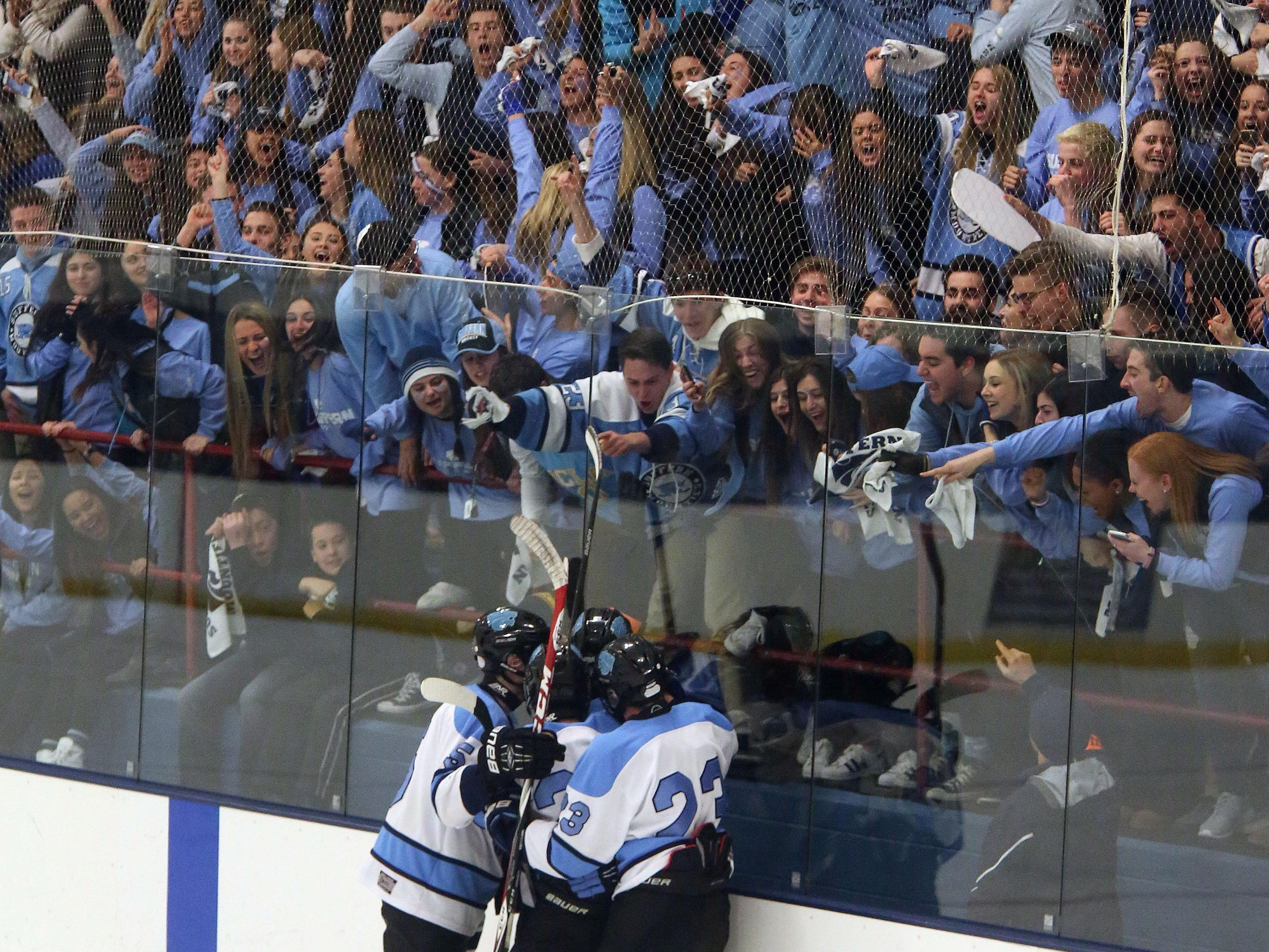 Suffern celebrates its first goal in the first period of against North Rockland during a Section 1 Division 1 semifinal Sport-O-Rama in Monsey Friday.