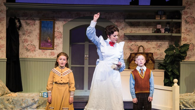 """Mila Belle Howells plays Jane Banks, Elizabeth Broadhurst plays Mary Poppins and Andrew Barrick plays Michael Banks in the Utah Shakespeare Festival's 2016 production of """"Mary Poppins."""""""