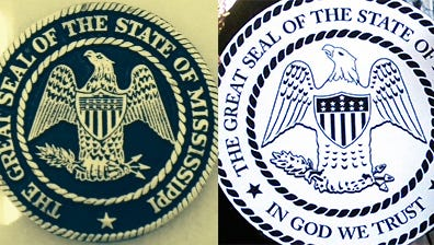 The old Mississippi seal (left) was replaced by the new seal July 1