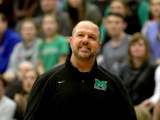 Mason head coach Rob  Matula reacts during the Comets'
