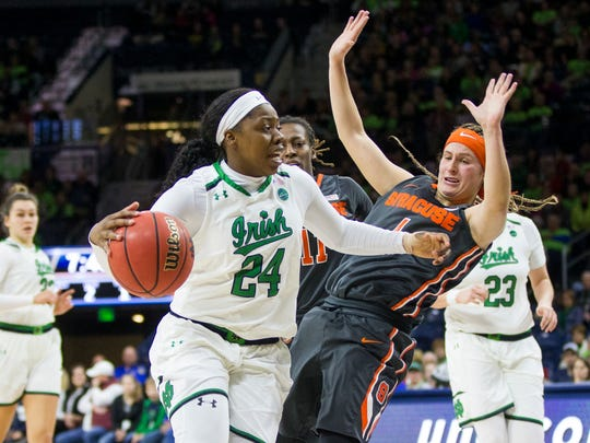 Notre Dame's Arike Ogunbowale (24) pushes off of Syracuse's TianaMangakahia (4) during the first half of an NCAA college basketball game Thursday, Dec. 28, 2017, in South Bend, Ind. (AP Photo/Robert Franklin)