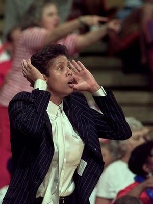 Cheryl Miller, shown coaching with the Phoenix Mercury in 1998, is now coaching at NAIA Langston University.
