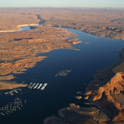This aerial view of Lake Powell in the Glen Canyon