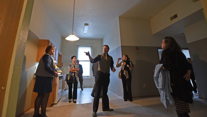 Visitors recieved a sneak peek at one of the rental apartments available in the Voegele Building on Main Street on Wednesday afternoon.