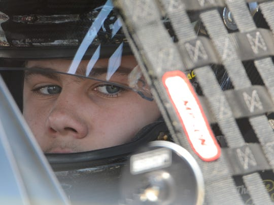 Carson Kvapil waits for Midwest Truck Series practice at Madison International Speedway.