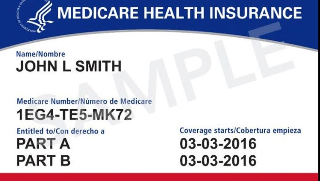 This image provided by the Centers for Medicare & Medicaid Services shows what the new Medicare cards will look like. The cards are getting a makeover to fight identity theft. No more Social Security numbers will be placed on the card. Next April, Medicare will begin mailing every beneficiary a new card with a unique new number to identify them.