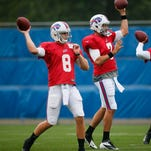 Injuries have left the Buffalo Bills with an unsettled QB situation: from left, Jeff Tuel, Matt Leinart and Thad Lewis.