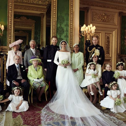One of three official wedding photos of Prince Harry
