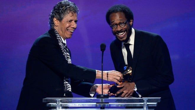Winners for Best Jazz Instrumental Album Chick Corea Trio, with Chick Corea (L) and Brian Blade (R), speak onstage during the The 57th Annual GRAMMY Awards Premiere Ceremony at Nokia Theatre L.A. Live on February 8, 2015 in Los Angeles, California.
