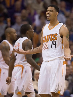 Suns' Gerald Green complains about a call to the referees in a game against the Los Angeles Clippers at US Airways Center in Phoenix on Jan. 25, 2015.