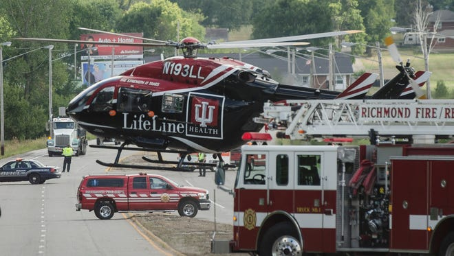 Lifeline responded to a one-vehicle accident on U.S. 27 south of Richmond on Friday, Aug. 12, 2016.