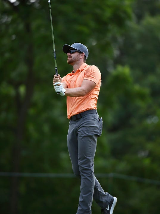 Patrick Rodgers hits a shot from the ninth fairway during the second round of the John Deere Classic golf tournament Friday, July 14, 2017, at TPC Deere Run in Silvis, Ill. (Brian Achenbach/QCOnline.com via AP)