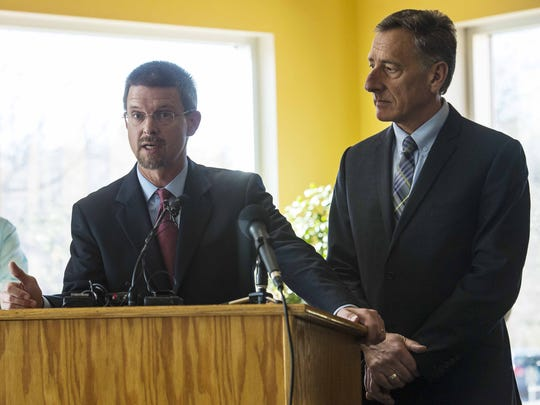 Vermont House Speaker Shap Smith, left, and Gov. Peter Shumlin speak in November at a news conference about the state's new school-district consolidation law, Act 46. Smith and Shumlin disagree about whether Vermont should repeal a penalty in the law for school districts that exceed a state-mandated spending limit.