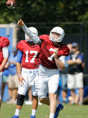 UK quarterback Drew Barker takes part in UK Football Fan Day open practice at Joe Craft Football Training Facility in Lexington, Ky., on Saturday, August 5, 2017.