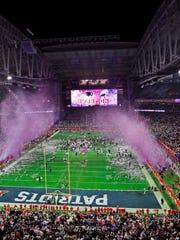 New England Patriots celebrate winning Super Bowl XLIX