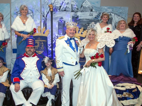 Grand krewe of RaMet royalty: back row, from left, grand duchess Ann Ince; duchesses Rose Gwaltney, Margaret Lawrence, Judy Looney; and chairperson Kim Leonard. Front row: pages Chandler Ince, Hudson Day Tutor, and Tanner Ince, flagman  Colquett Van Dyke, King Ra LXXIV Charlie Smithers and Queen Ma'at LXXV Sara Van Dyke.