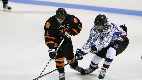 From left, White Plains' James Carrier (8) and Rye Town/Harrison's Kieran Storch (10) battle for puck control during the annual Mayors' Cup charity hockey game at Playland Ice Casino in Rye Jan. 21, 2017.
