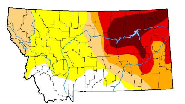 Yellow is abnormally dry. Tan is moderate drought. Orange is severe drought. Red is extreme drought. Maroon is exceptional drought.