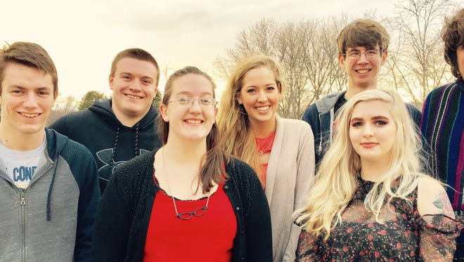 """The cast of """"When They Speak of Rita"""" will perform Wednesday through Sunday at UW-Fond du Lac's Prairie Theater. Pictured are, front row, from left: Joey Wiedmeyer, """"Jimmy;"""" Sarah Lally, """"Rita;"""" and Kylee Brabant, understudy- """"Jeannie;"""" back row: Max Kroll, """"Warren;""""  Alysa Mies,""""Jeannie;"""" Dylan Palmer, understudy- """"Jimmy;"""" and Jess Kiehl, """"Asa."""""""