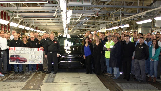 Workers began building the first production versions of the 2017 Chrysler Pacifica minivan Monday, Feb. 29, 2016 at Windsor Assembly Plant.